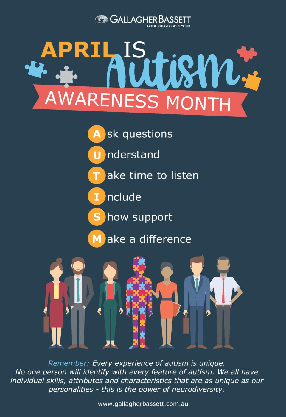 Poster - Autism Awareness Month - Gallagher Bassett