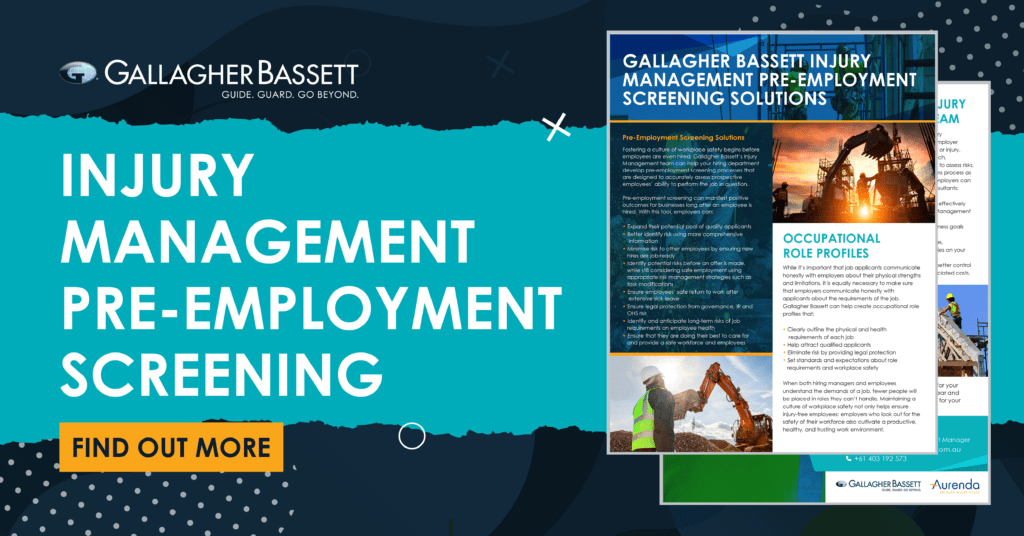 INJURY MANAGEMENT PRE-EMPLOYMENT SCREENING SOLUTIONS
